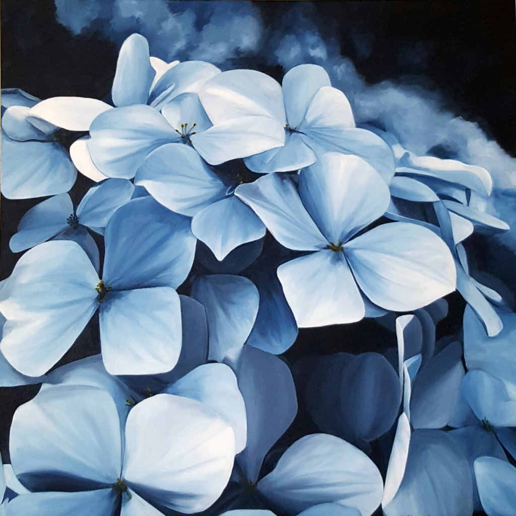 """Moody Blues"" Brenda Stonehouse 24""x24"" oil on canvas. Available for purchase."